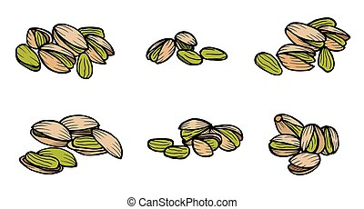 pistachio nuts and kernels. - Pistachios. Isolated whole and...