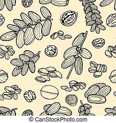 seamless pattern hand sketched nuts - Monochrome Vector...