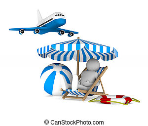 Vacation on white background. Isolated 3D image