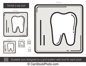 Dental x-ray line icon. - Dental x-ray vector line icon...