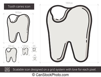 Tooth caries line icon. - Tooth caries vector line icon...