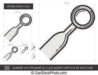 Dental mirror line icon. - Dental mirror vector line icon...
