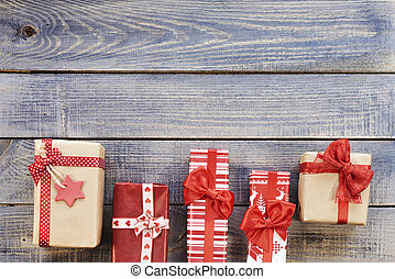 Christmas presents situated side by side