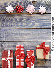 Christmas gifts opposite to bows