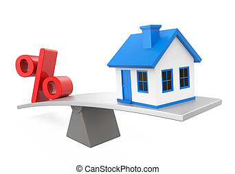 Seesaw, House and Percent Symbol isolated on white...
