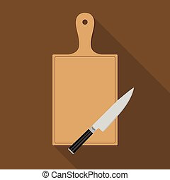 Wooden Chopping Board and knife. Flat style vector...