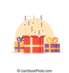 Opened gift box, surprise concept - Celebration event,...