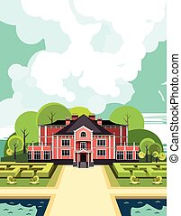 ancient manor - illustration of a two-storey country mansion...