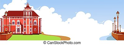 ancient manor panoramic - vector illustration ancient...