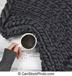 Hang with hot coffee - Woman hand in warm sweater holding...