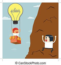 Business moves faster with a idea bulb balloon. Businessman...