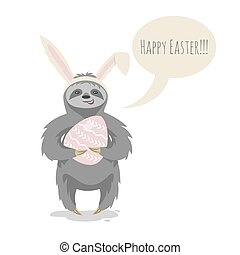 Vector illustration of happy cute cloth with bunny or rabbit...