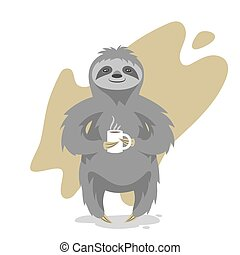 Vector illustration of happy cute sloth with the cup of tea...