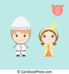 Vector illustration of two happy cute kids characters. Boy in Knight costume and a girl in princess costume.