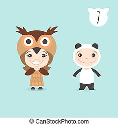 Vector illustration of two happy cute kids characters. Boy in panda costume and a girl in owl costume.