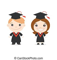 Vector illustration of two happy cute kids characters. Boy and girl in Graduate Costumes.