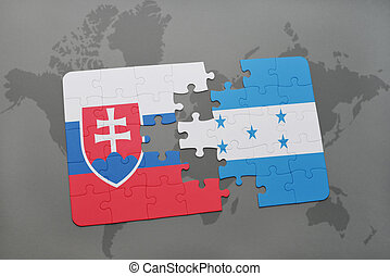 puzzle with the national flag of slovakia and honduras on a...
