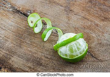 Kaffir Lime (Bergamot). - Kaffir Lime (Bergamot) on wood...