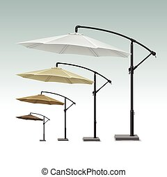 Blank Patio Outdoor Beach Cafe Umbrella Parasol - Vector Set...