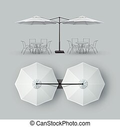 Patio Double Outdoor Cafe Bar Restaurant Parasol - Vector...