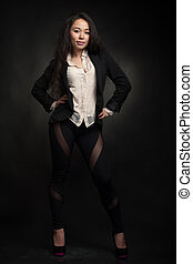 Naughty woman in jacket on black background