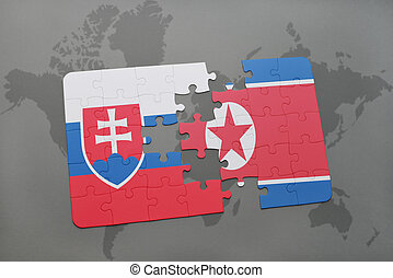 puzzle with the national flag of slovakia and north korea on...