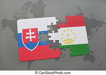 puzzle with the national flag of slovakia and tajikistan on...