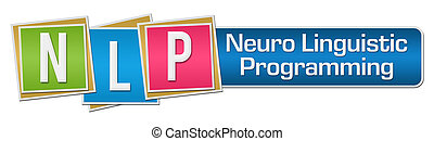 NLP Colorful Blocks Stripe - NLP and its full form written...