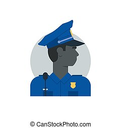 Police officer side view, turned head, black man