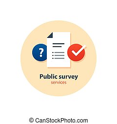 Questionnaire, survey concept, consulting services, tutoring and guidance icons