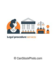 Legal court house trial services icons, lawyer man, advocacy...
