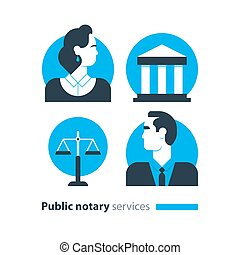Public notary services icons set, law firm man advocacy...