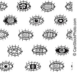 Eyes sketchy hand drawn outline seamless pattern background....