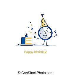 Happy birthday, party time, event celebration, piece of cake, funny illustration