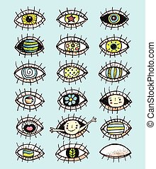 Eyes sketchy hand drawn doodle collection - Eye set colorful...
