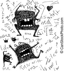 Grunge dreadful horrible monster fun character hand drawn...