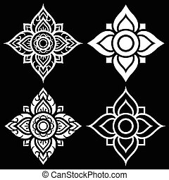 Thai white folk art pattern - flower shape - Vector...