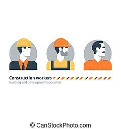 Builder man side view construction worker labor force, contractor occupation job