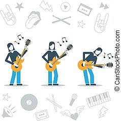 Music band playing live concert, three guitarists, audition