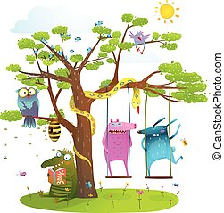 Tree friends animals birds monsters bees in sunny summer...