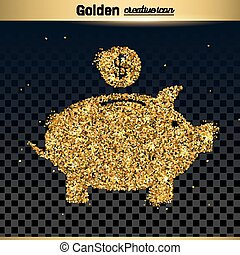 Gold glitter vector icon of piggy bank isolated on...