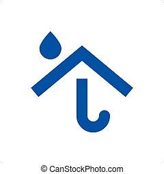 sablon2 - Umbrella house logo isolated on a white...