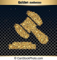 Gold glitter vector icon of gavel isolated on background....