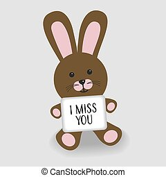 Pink bunny with message I miss you illustration on grey...