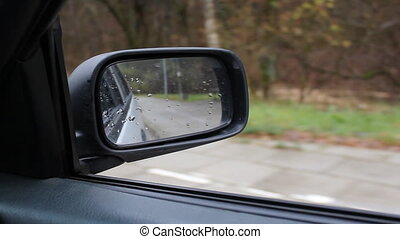 Car Side Mirror Zoomed Out