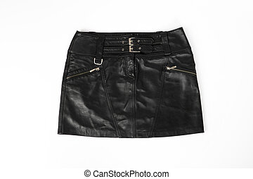 women, leather short skirt on a white background