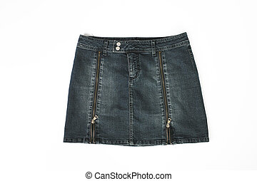 denim short skirt, white background
