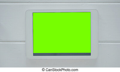 Tablet computer with green screen - Horizontal tablet...