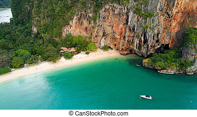 Tropical beach and cave in Thailand - Aerial view of Phra...