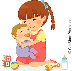 girl with bBY - little girl hugging a baby